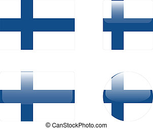 Finland flag & buttons collection - vector