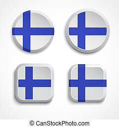 Finland flag buttons, vector illustration