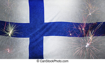 Finland Flag Firework Grunge Concept real fabric