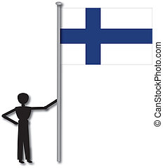 flag finland hold by boy or man