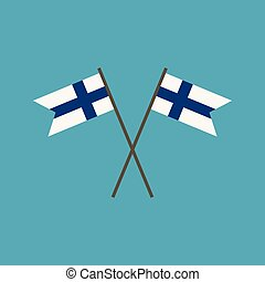 Finland flag icon in flat design. Independence day or...