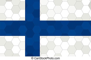 Finland flag illustration. Futuristic Finnish flag graphic with abstract hexagon background vector. Finland national flag symbolizes independence.