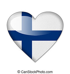 Finland flag in heart shape isolated on white background