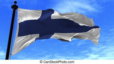 Finland Flag in the Wind