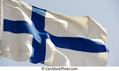 Finland flag is fluttering in wind.