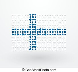 Finland flag made up of dots