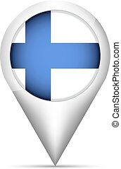 Finland flag map pointer with shadow. Vector illustration
