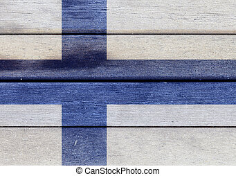 Finland flag on a wood