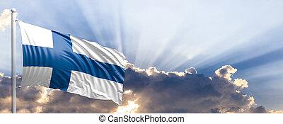 Finland flag on blue sky. 3d illustration - Finland waving...