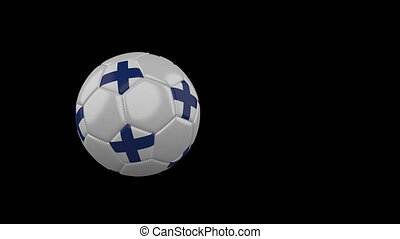 Finland flag on flying soccer ball on transparent background, alpha channel