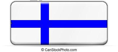 Finland flag on smartphone screen. Vector illustration.