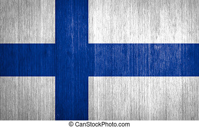 Finland Flag on wood background