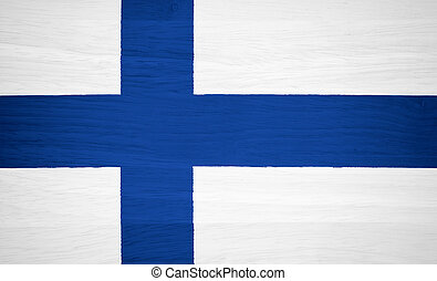 Finland flag on wood texture