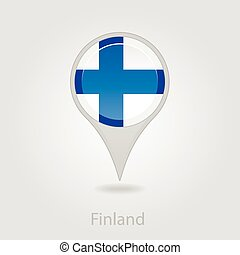 Finland flag pin map icon, vector illustration