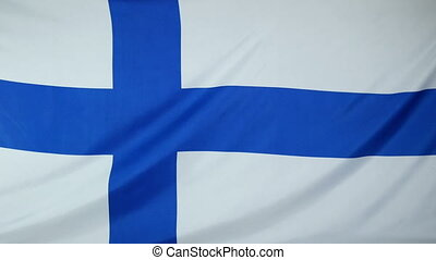Finland Flag real fabric Closeup 4K - Textile flag of...