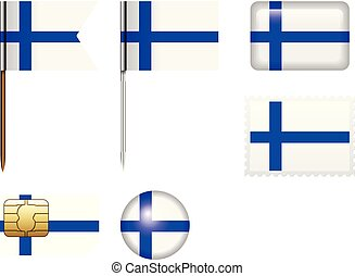 Finland flag set on a white background.