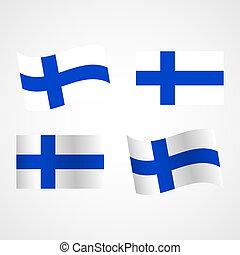 Finland flag. Set. Vector