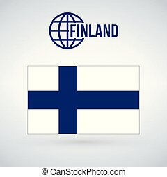 Finland flag vector illustration isolated on modern background with shadow.