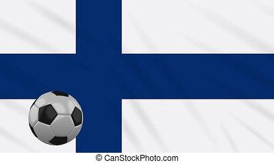 Finland flag waving and football rotates, loop - Finland...