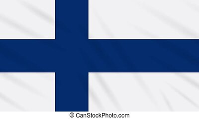 Finland flag waving cloth background, loop - Finland flag...