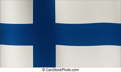 Finland Flag waving in the wind in sun rise, Close up of the...