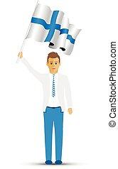 Finland flag waving man