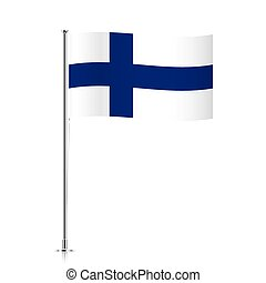 Finland flag waving on a metallic pole.