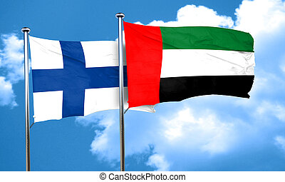 finland flag with UAE flag, 3D rendering