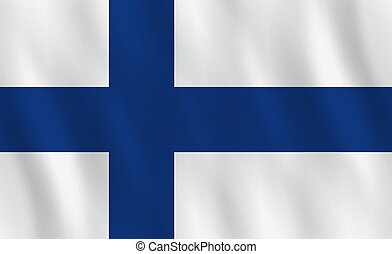 Finland flag with waving effect, official proportion.