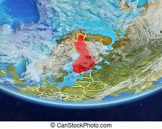 Finland from space on Earth - Finland on realistic model of...