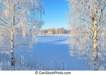 Finland. Frozen harbor of Mikkeli