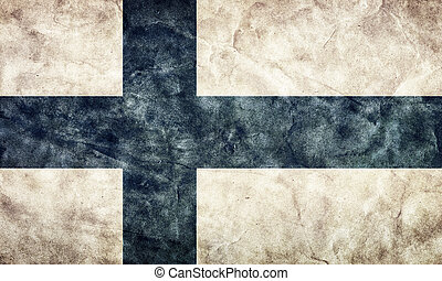 Finland grunge flag. Item from my vintage, retro flags collection