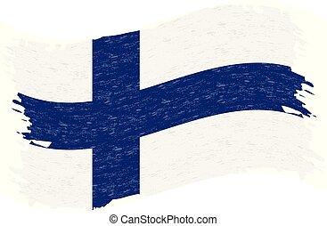finland, grunge, illustration., abstratos, bandeira, isolado, experiência., apoplexia, vetorial, escova, branca