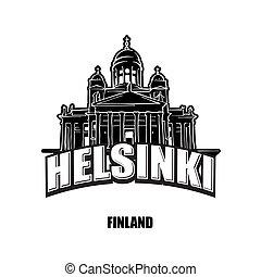 finland, helsínquia, branca, pretas, logotipo