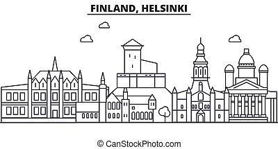 Helsinki finland famous architecture  outlined vector sketch