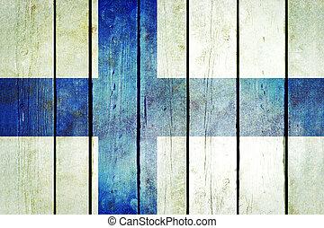 finland, houten, grunge, flag.