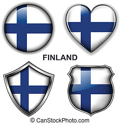 Finland icons - Finland flag icons, vector buttons.