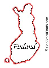 Finland - Outline map of Finland over a white background