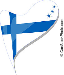 finland in heart. Vector Icon of finland national flag