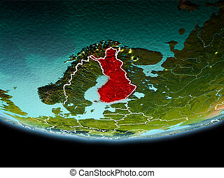 Finland in red in the evening