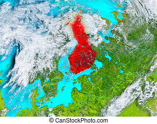 Finland in red on Earth