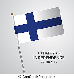 Finland Independence day typographic design with flag vector