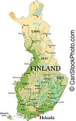 finland, karta, fysisk