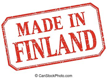 Finland - made in red vintage isolated label