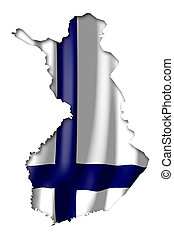 Finland - map and flag illustration.