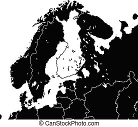Finland map. Black and white illustration. Icon sign for print and labelling.