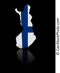 Finland map flag with reflection illustration