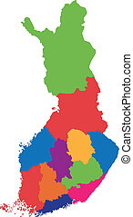 Finland map - Vector color map of administrative divisions...