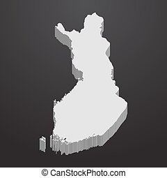 Finland map in gray on a black background 3d
