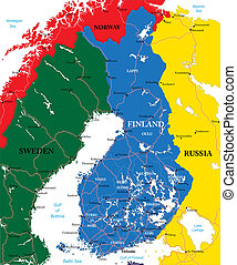 Finland map - Highly detailed vector map of Finland with...